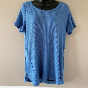 Soft Surroundings Blue Waffle Knit Scoop Neck Top